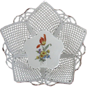 Lattice Work Porcelain Basket, Tulip Center, Handmade Romanian