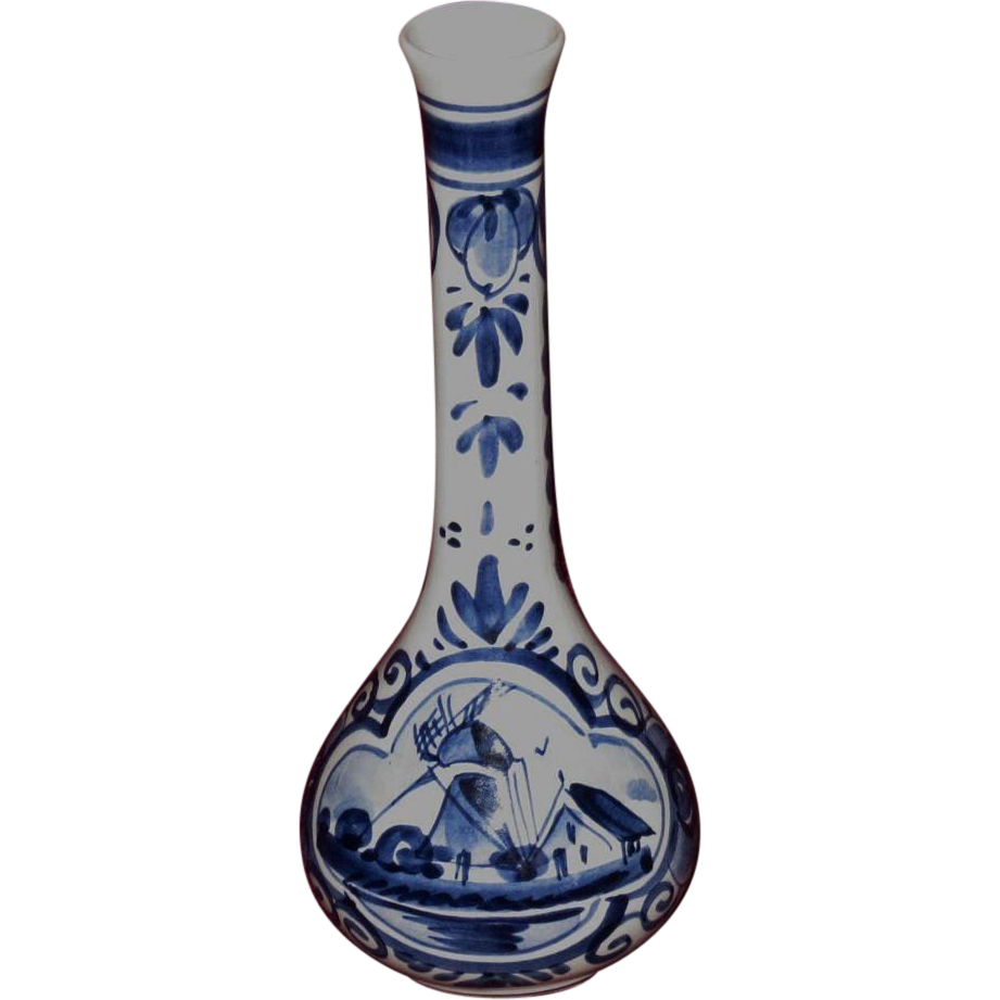 Small Hand Painted Vintage Dutch Delft Bud Vase