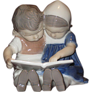Bing & Grondahl Danish Figurine Two Children Reading - Red Tag Sale Item