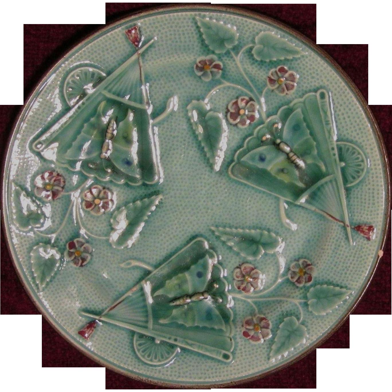 Majolica Plate, 19th Century, Fans, Butterflies, Flowers