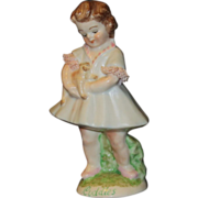 "Muller Volkstedt Irish Dresden ""Cuddles"" Little Girl Figurine"