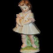 """Muller Volkstedt Irish Dresden """"Cuddles"""" Little Girl Figurine"""