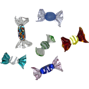 Murano Art Glass Hard Candy, 6 Pieces in Colorful Array