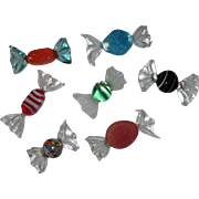 Seven Colorful Art Glass Candy Pieces