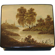 Russian Lacquer Box, Hand Painted Landscape - Red Tag Sale Item