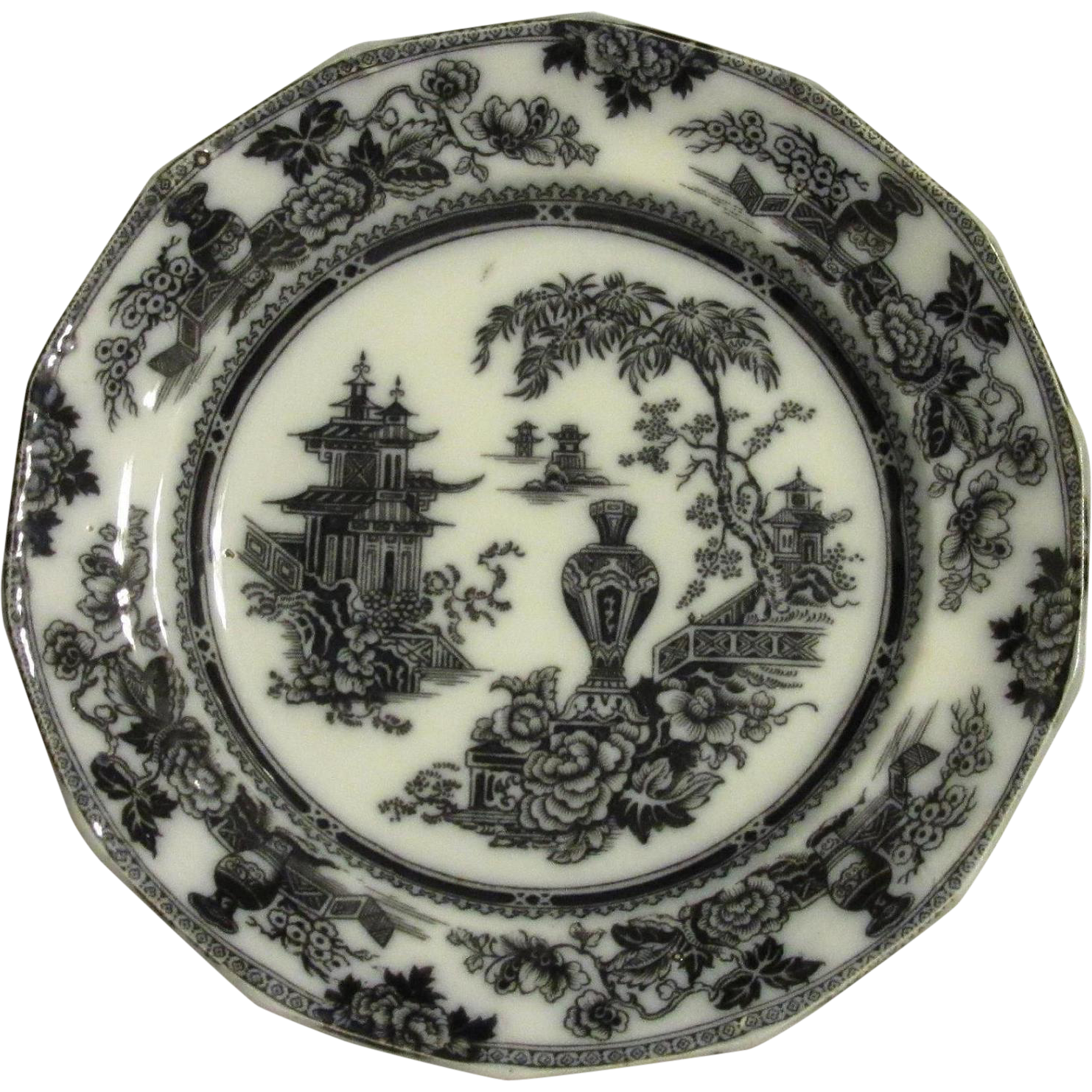 Very Old W. Adams & Sons Black on White Plate, Asian Motif