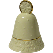 Lenox Porcelain Christmas Bell, Cream White with Gold Enamel Trim