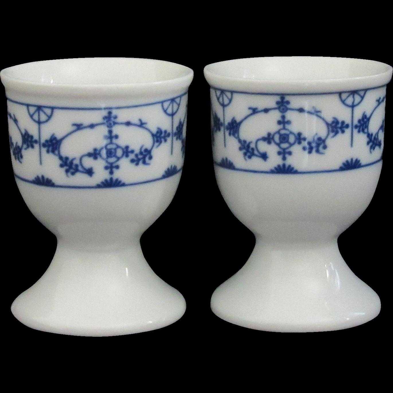 Pair of Blue on White Porcelain Egg Cups