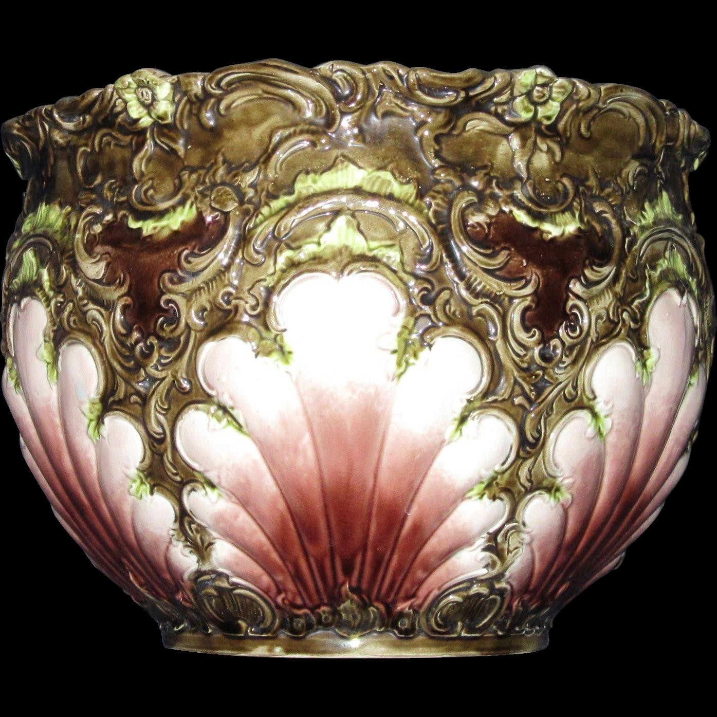 Nineteenth Century Art Nouveau Majolica Jardinière, Cache Pot, Seashell Motif