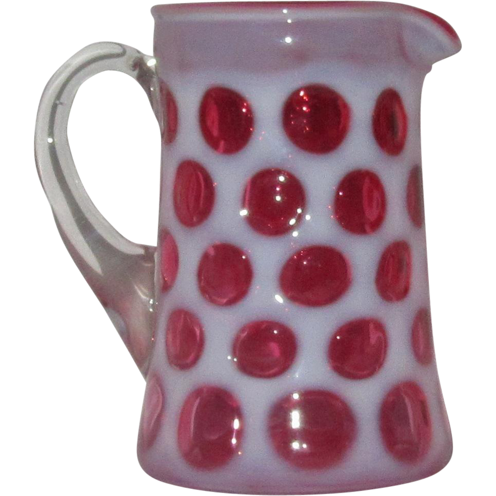 Fenton Coin Dot Cranberry and Milk Glass Creamer