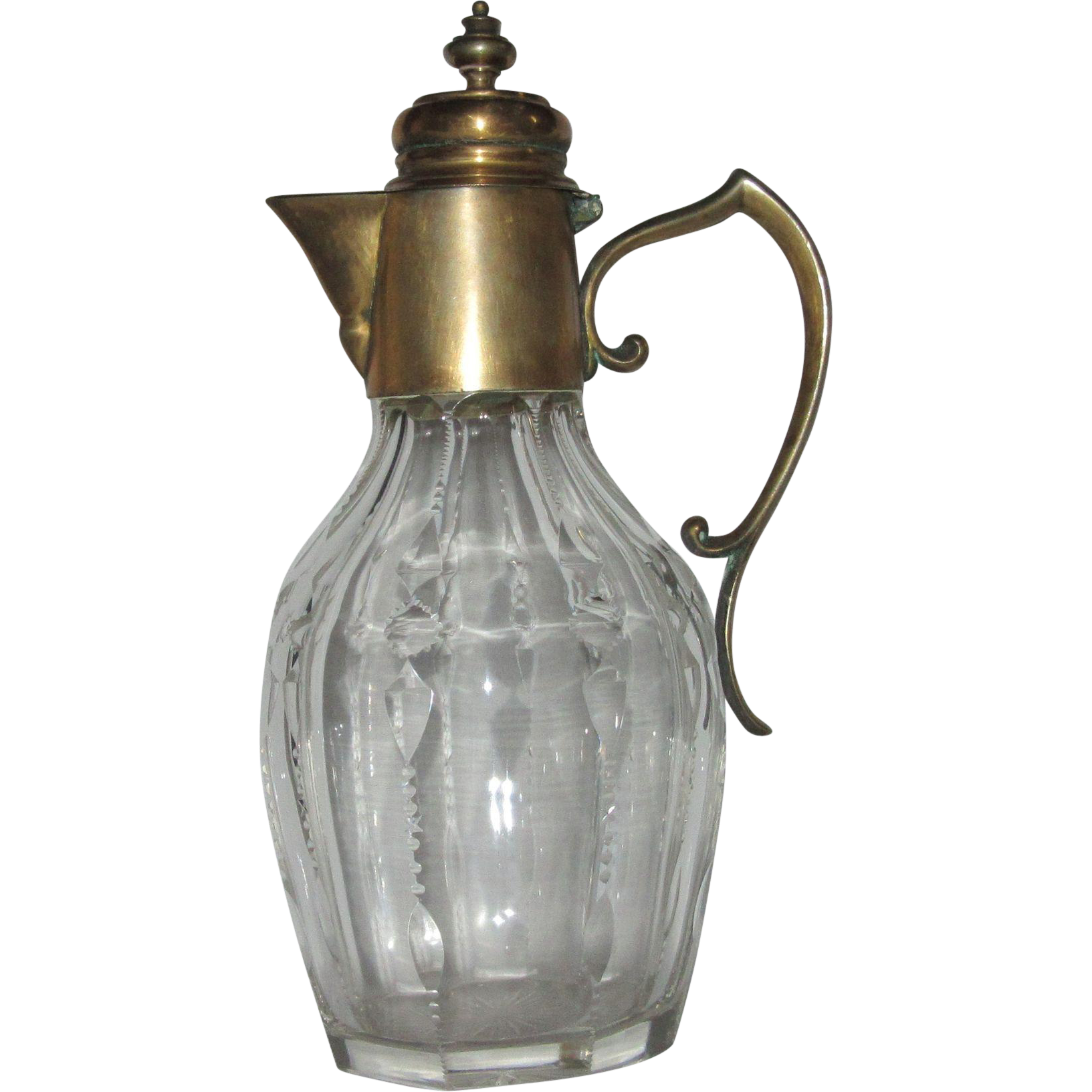 Antique Cut Crystal Claret Jug or Decanter with Brass Mount