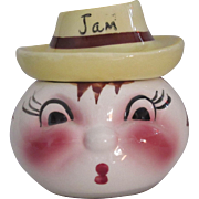 Comic Jam Pot with Face and Hat DeForest of CA Pottery 1950s, Hand Painted