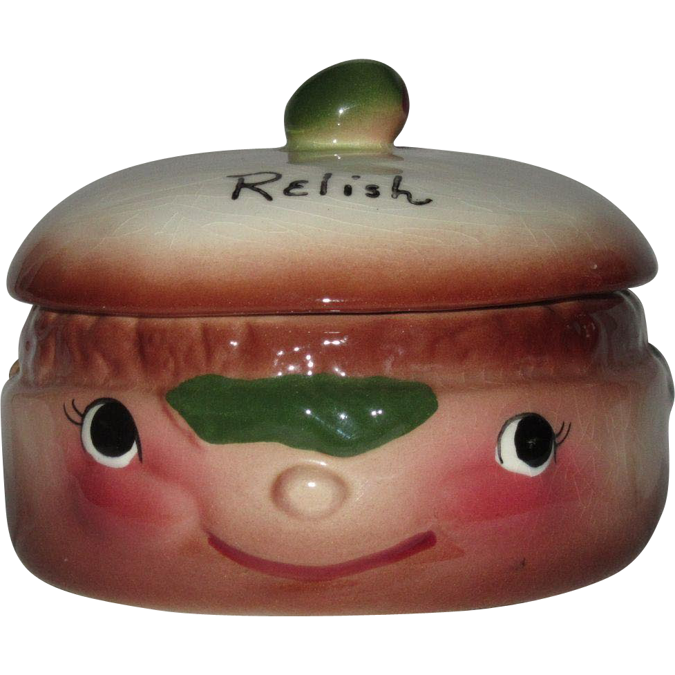 Comic Relish Pot with Face and Hat DeForest of CA Pottery 1950s, Hand Painted
