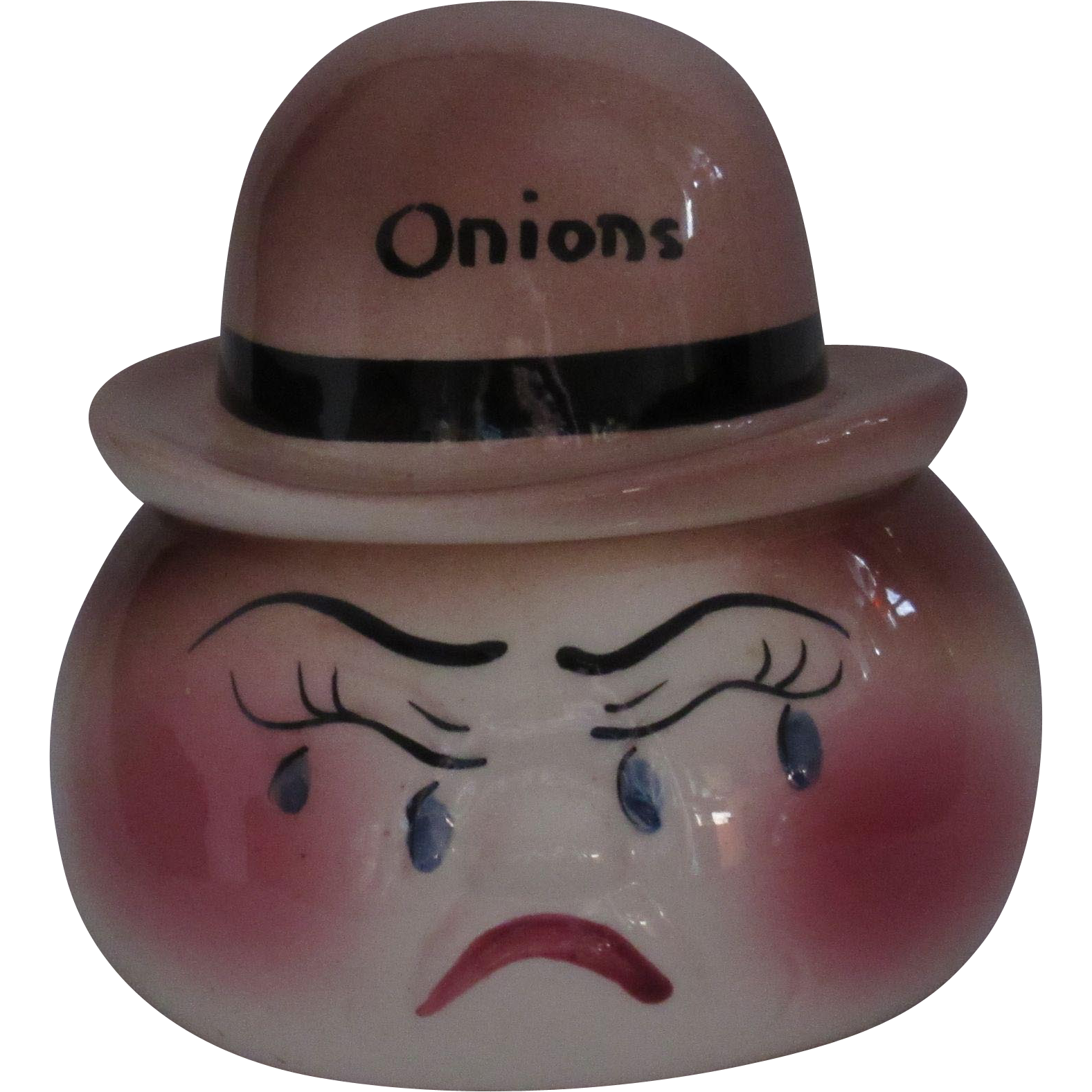 Weeping Anthropomorphic Onion Pot DeForest of CA Pottery 1950s, Hand Painted