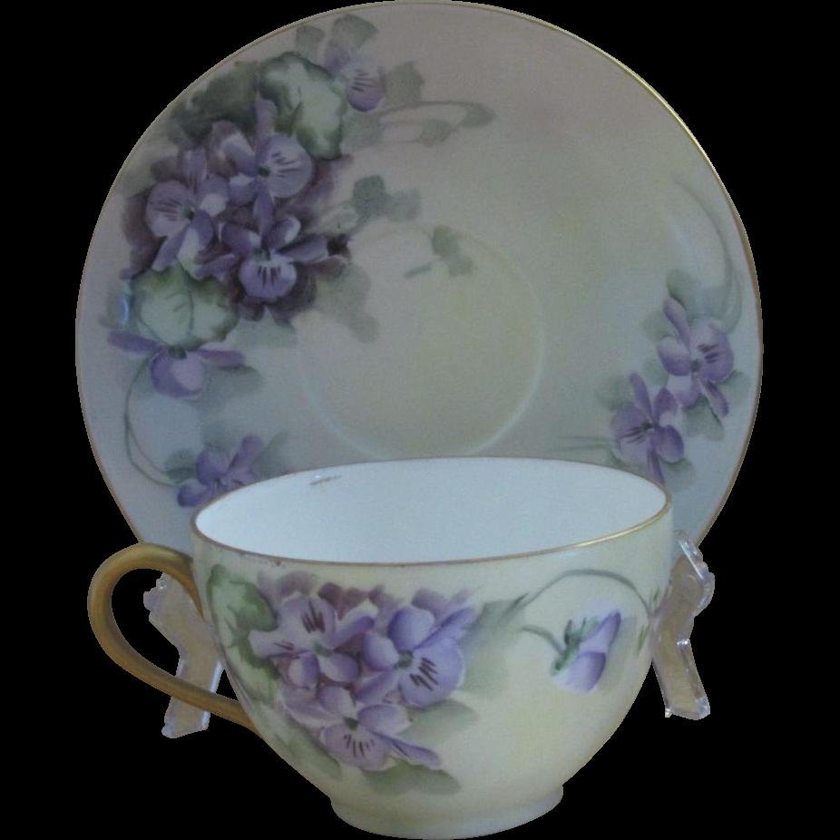 Tressemann & Vogt Limoges Antique Cup and Saucer Set, Violets