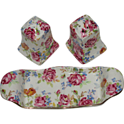 Adorable 3-Piece Royal Winton Grimwades Victorian Rose Chintz Salt & Pepper Set with Tray