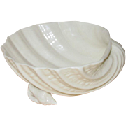 Irish Belleek Porcelain Sea Shell Cream White Sweetmeat or Nut Dish