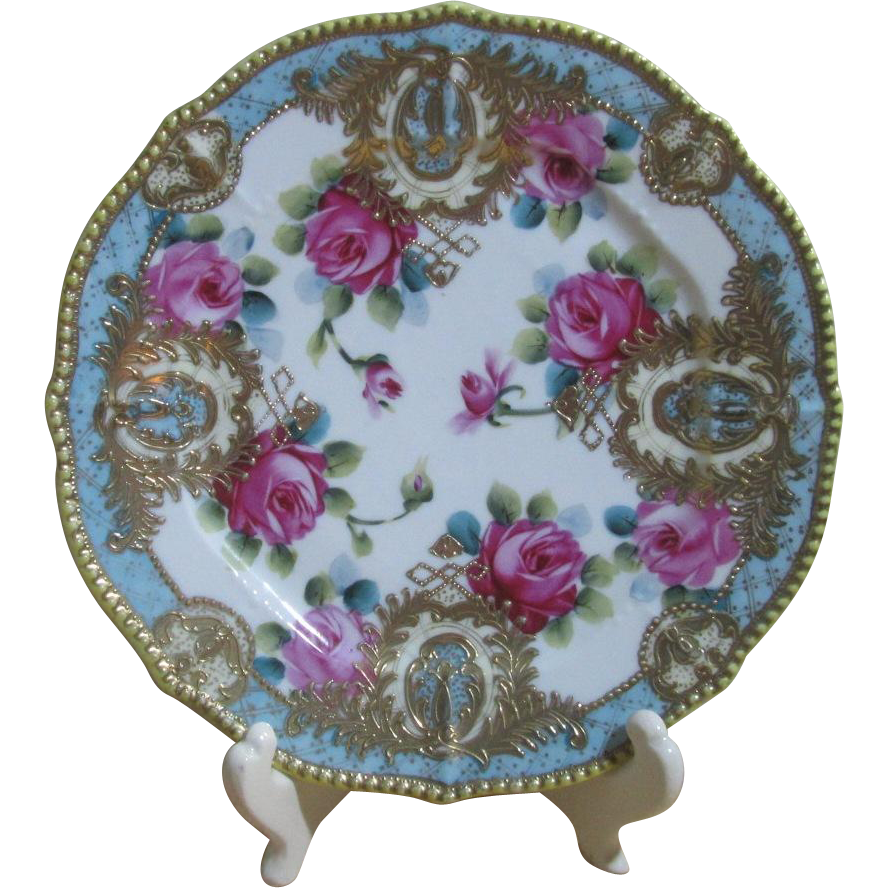 Gorgeous Old Cabinet Plate with Hand Painted Roses, Gold Enameled Cartouches