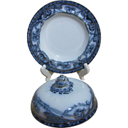 Antique Flow Blue Covered Butter Dish, Staffordshire, Stoke-On-Trent, Arthur J. Wilkinson Pottery