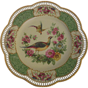 "Gorgeous Carl Schumann Cabinet Plate ""Pheasants and Flowers"""