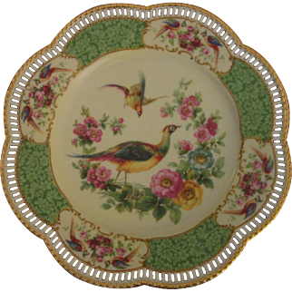 """Gorgeous Carl Schumann Cabinet Plate """"Pheasants and Flowers"""" (#2)"""