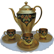 Stunning Pickard Coffee Set, All-Over-Gold Floral Scroll Pattern and Encrusted Poppies Design