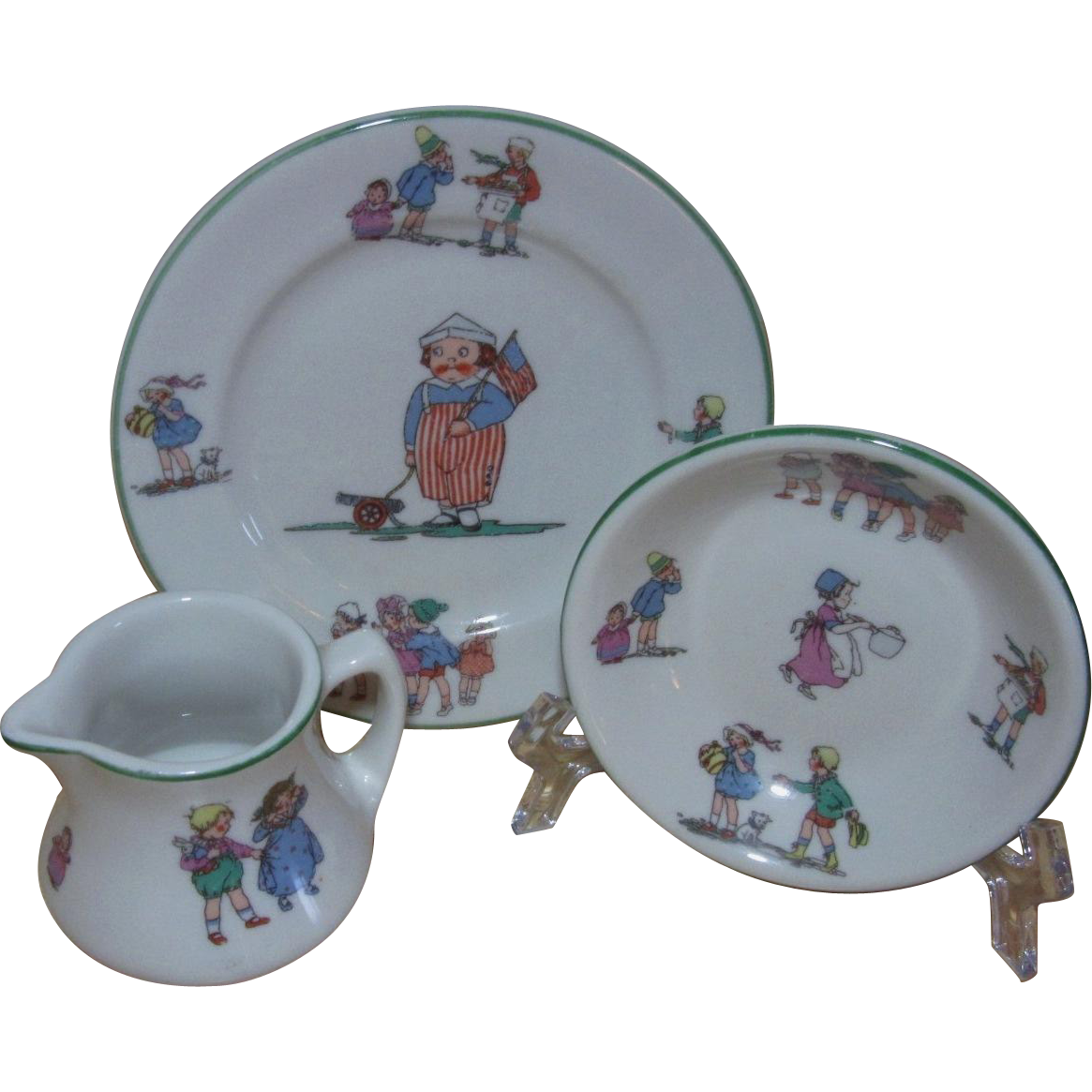 Shenango Children's Restaurant Ware Bread Plate, Small Bowl, and Cream Pitcher