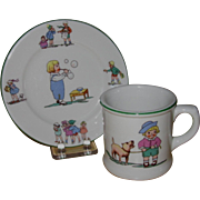 Shenango Children's Restaurant Ware, Bread Plate and Mug, Story Book Motifs