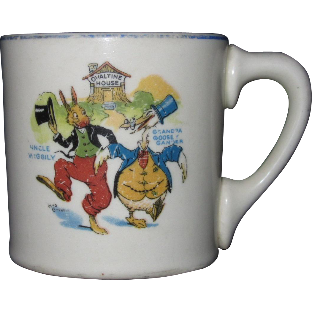 Uncle Wiggily and Grandpa Goosey Gander Ovaltine Mug, Signed Lang Campbell