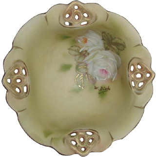Royal Bayreuth Ring Dish, Hand Painted Roses, Signed by Artist