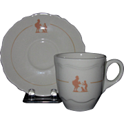 Shenango Espresso Cup and Saucer, Stenciled Howard Johnson Pieman Design