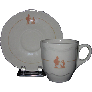 Shenango Espresso Cup and Saucer, Stenciled Howard Johnson Pieman Design