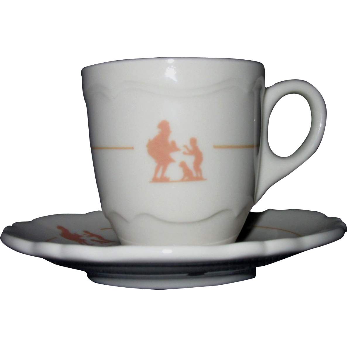 Shenango Espresso Cup and Saucer, Stenciled Howard Johnson Pieman Design (#2)