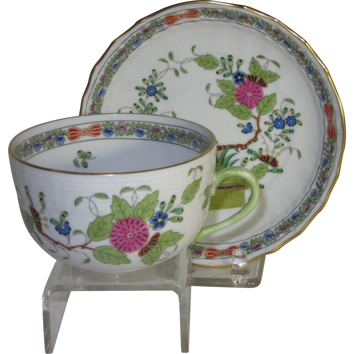 Herend Cup and Saucer, Hand Painted Fleurs des Indies Pattern