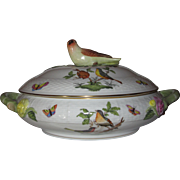 Herend Rothschild Bird Round Covered Tureen or Serving Dish, Bird Finial