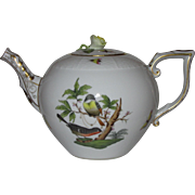 Herend Rothschild Bird Teapot, Open Rose Finial