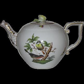 Herend Rothschild Bird Teapot, Open Rose Finial