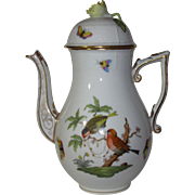 Herend Coffee Pot in Rothschild Bird Series, Domed Lid with Flower Finial