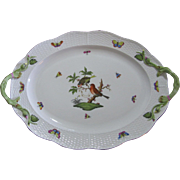 Herend Large Oval Serving Platter, Rothschild Bird Series, Vine Handles