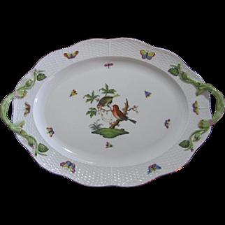 Herend Large Oval Serving Platter, Rothschild Bird Series, Vine Handles