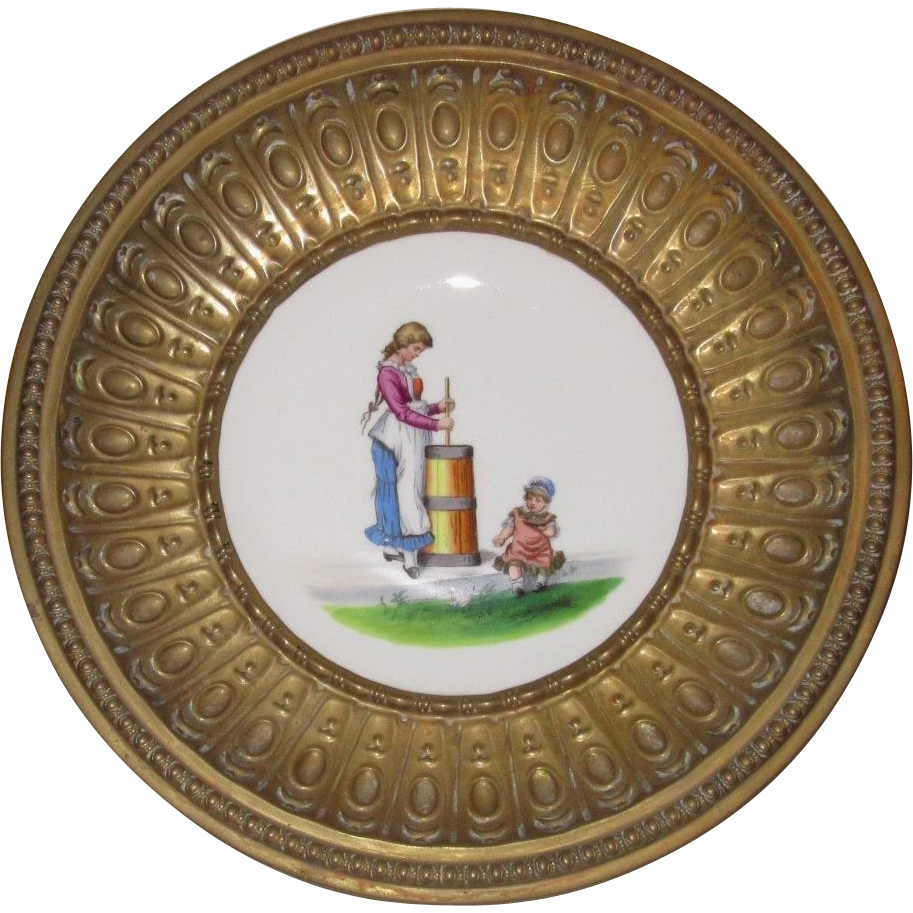 Metal Framed Bowl with Hand Painted Porcelain Center, 19th Century Farm Girl and Baby