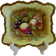 Aynsley Hand Painted Square Sweetmeat Dish, Orchard Gold, Signed D. Jones