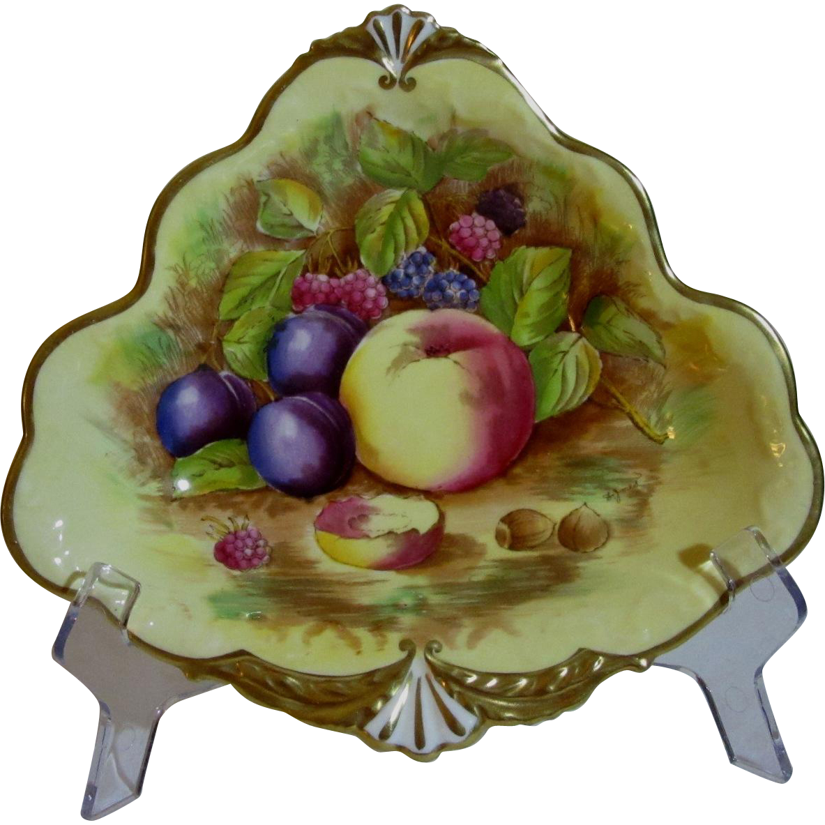 Aynsley Triangular Open Bonbon Dish, Orchard Gold, Signed D. Jones