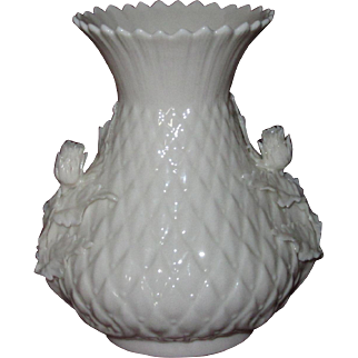 Irish Belleek Thistle Vase Applied Thistle Blossoms and Leaves, Second Green Mark