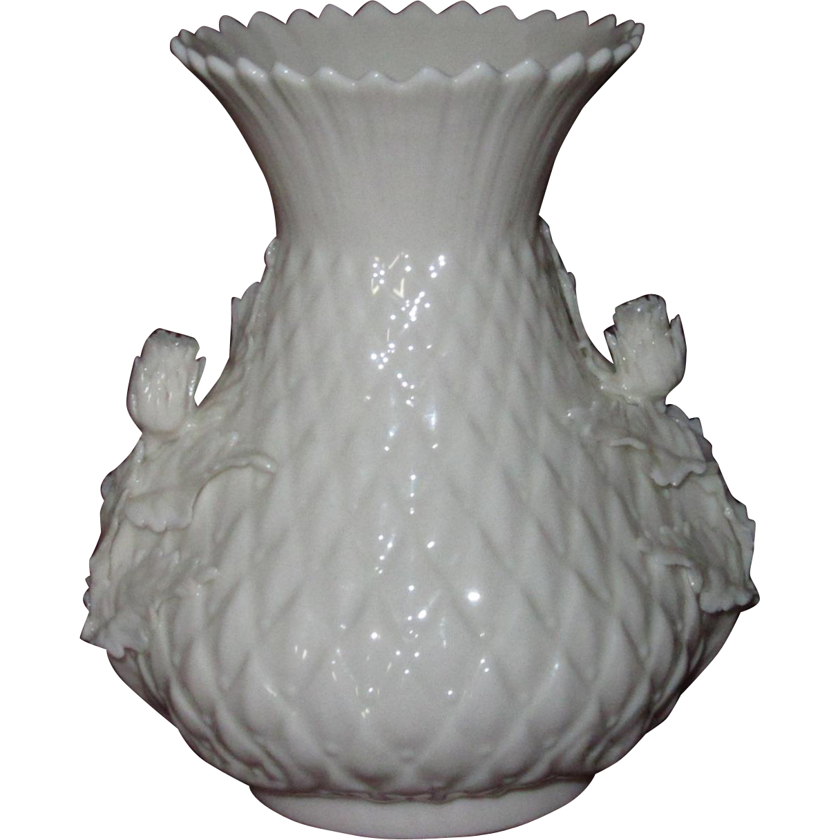 Irish Belleek Thistle Vase w/ Applied Thistle Blossoms and Leaves, Second Green Mark (1)