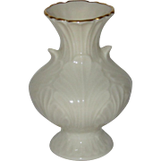 Small Lenox White Porcelain Elfin Cabbage Leaf Vase, Gilded Edge