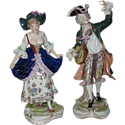 Pair of Hand Painted Ernst Bohne & Son Porcelain Rustic Minstrel Figurines
