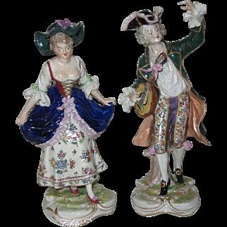 Pair of Hand Painted Ernst Bohne & Son Porcelain Rustic Minstrel Figurines
