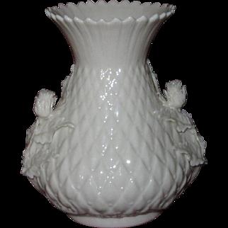 Irish Belleek Thistle Vase, Applied Thistle Flowers and Leaves, 2nd Green Mark