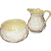 Belleek Small Floral Creamer and Sugar Bowl, White on White Flowers